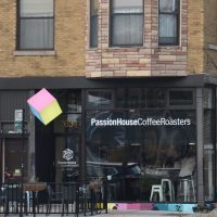 Passion House Coffee Roasters, as seen from the other side of Kedzie Avenue in Chicago.