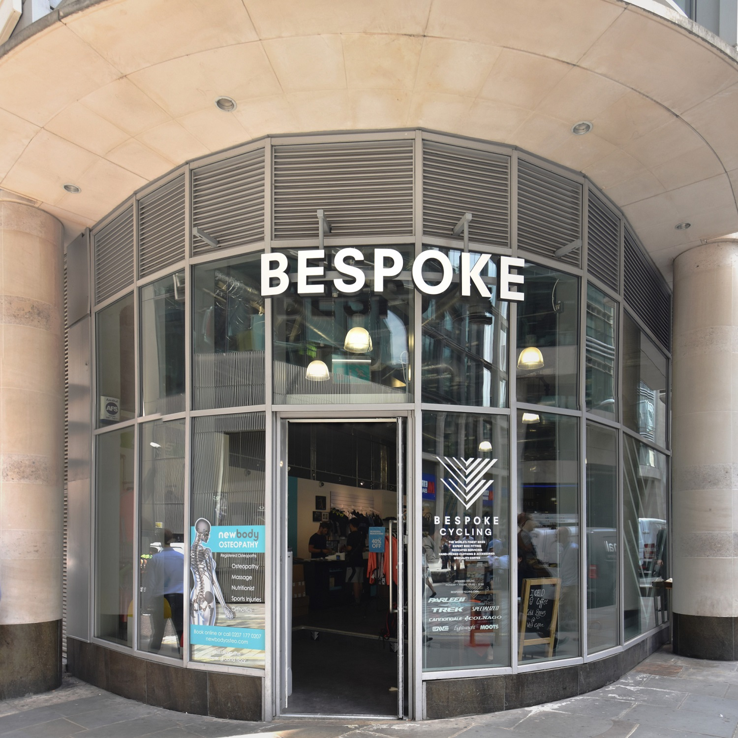The front of Bespoke Cycling on Milk Street in the City of London, home of V69.