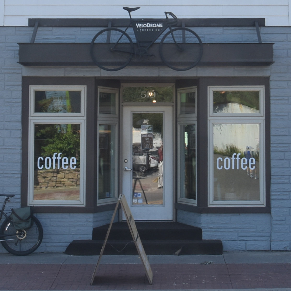 The front of Velodrome Coffee Co in Marquette, Michigan.