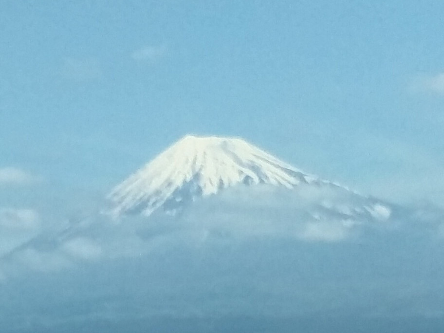 The unmissable features of Mount Fuji as seen looking north from the bullet train on my way to Kyoto.