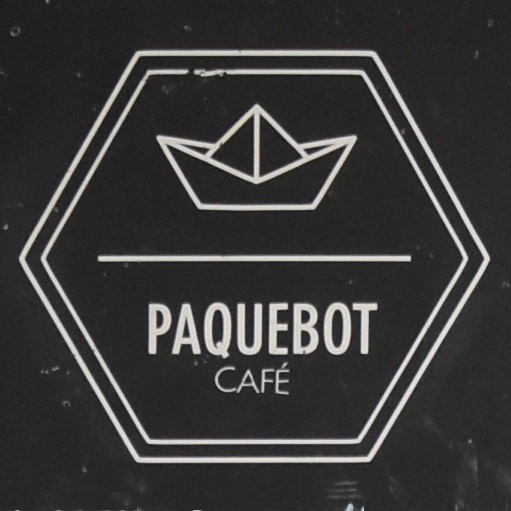 The Paquebot logo, taken from the A-board at the third Paquebot location, Vieux-Montreal.