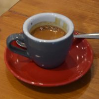 A slightly out-of-focus shot of Unkle Funka from Extract Coffee Roasters at SHOTS Espresso Bar in Birmingham.