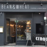The front of Bean & Wheat, a Coffee & Beer Shop on Old Street, London.