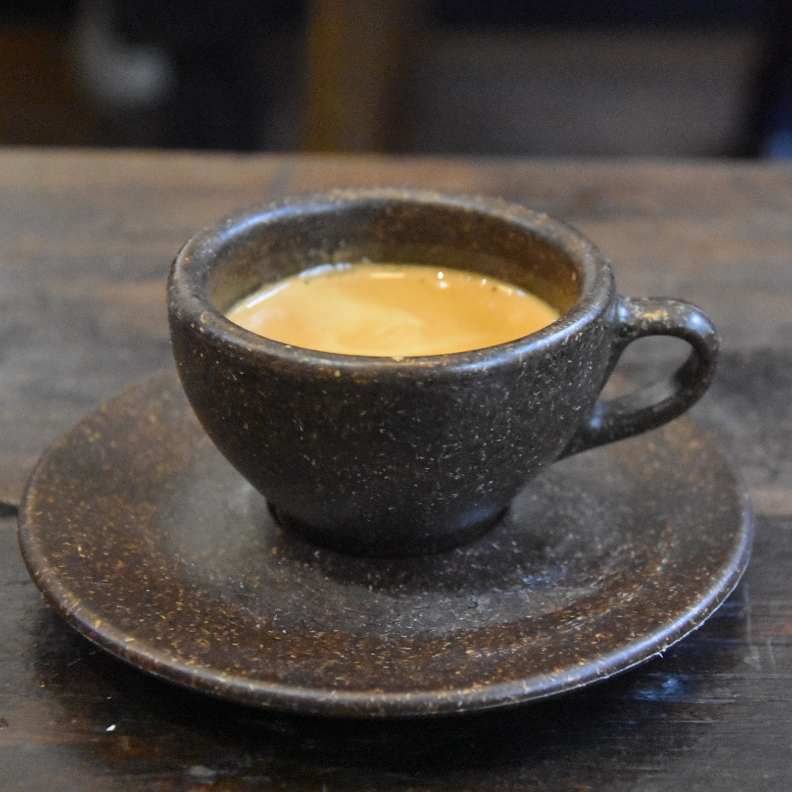 A lovely Assembly espresso (a washed El Salvador) in a Kaffeeform cup, made from recylced coffee grounds, at Just Between Friends Coffee in Manchester.