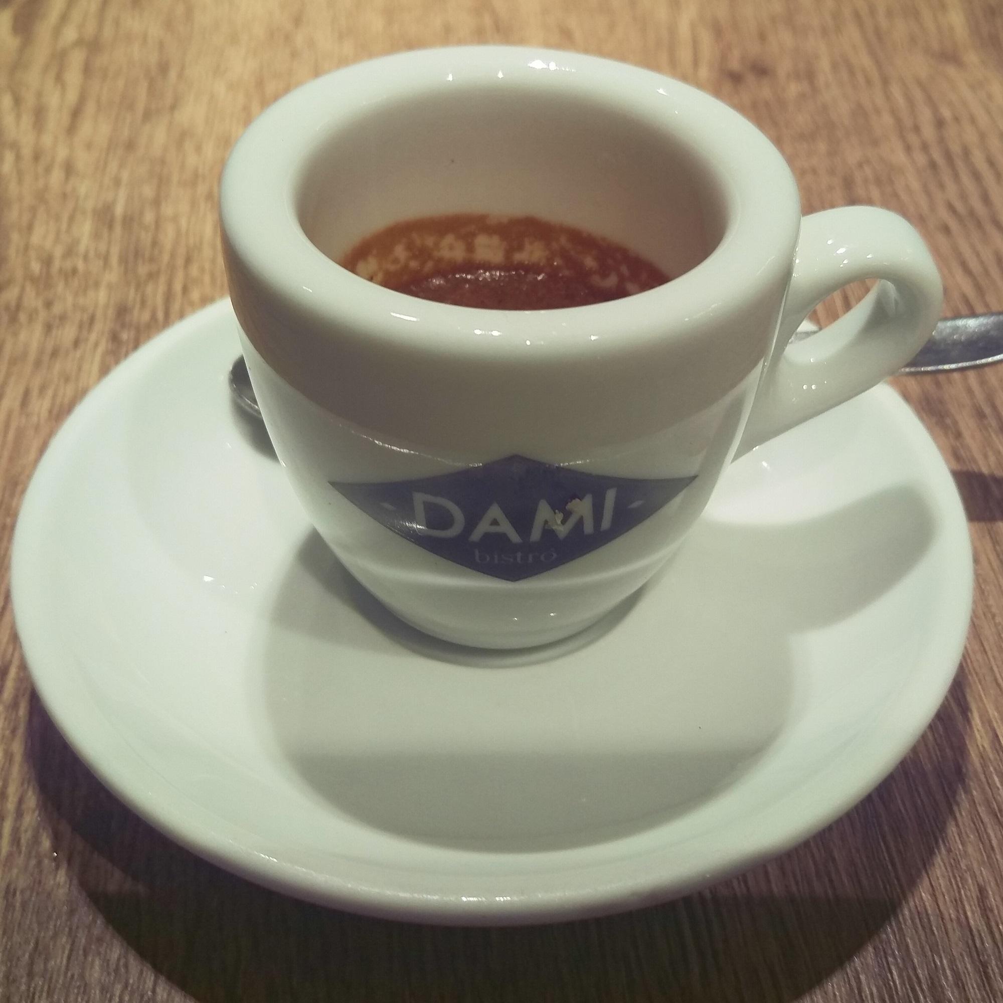 A typical espresso in a typical Italian espresso bar, Dami Bistro, near the Spanish Steps.