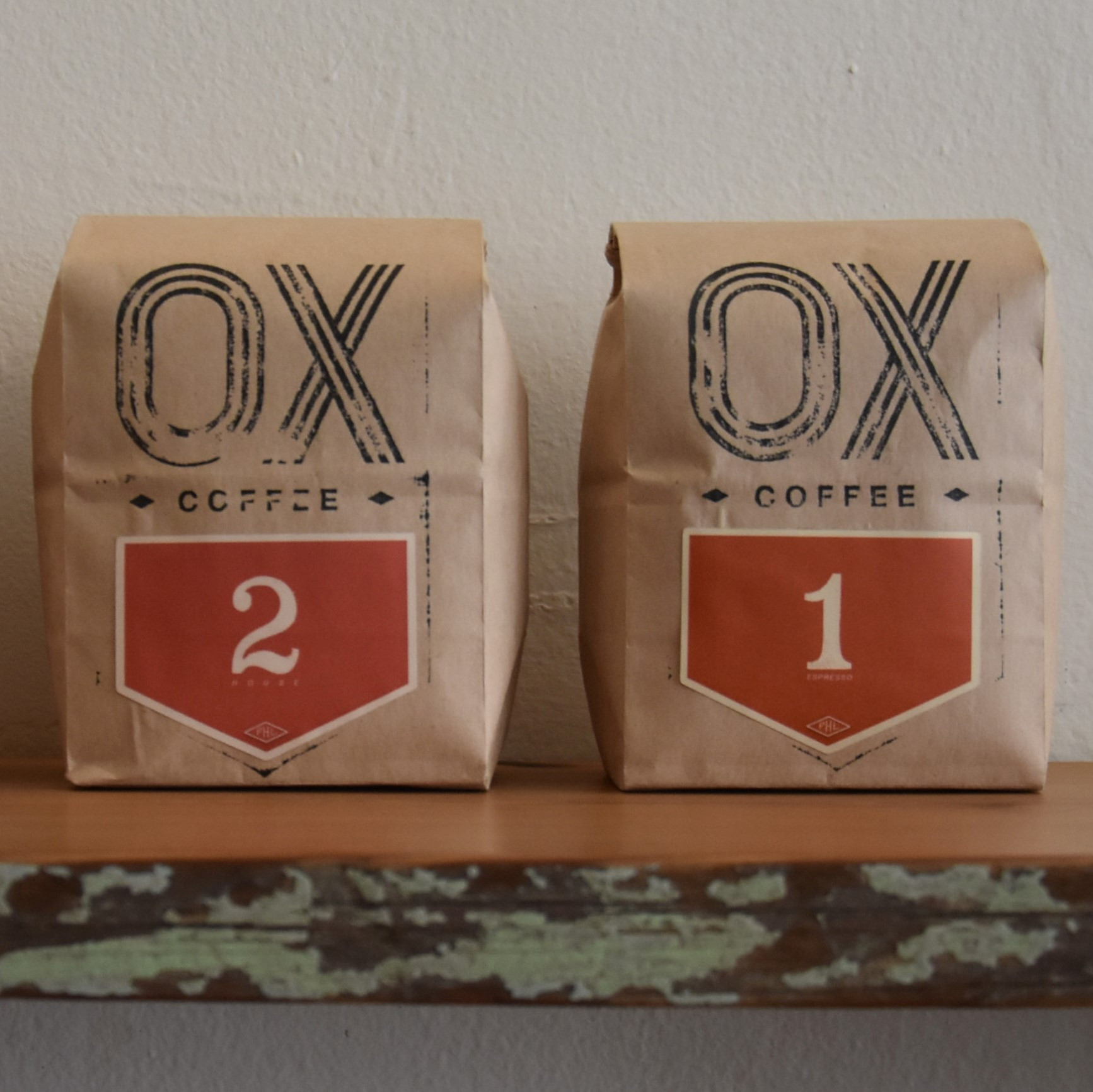 Bags of coffee, roasted in-house for the first time at Ox Coffee, Philadelphia.