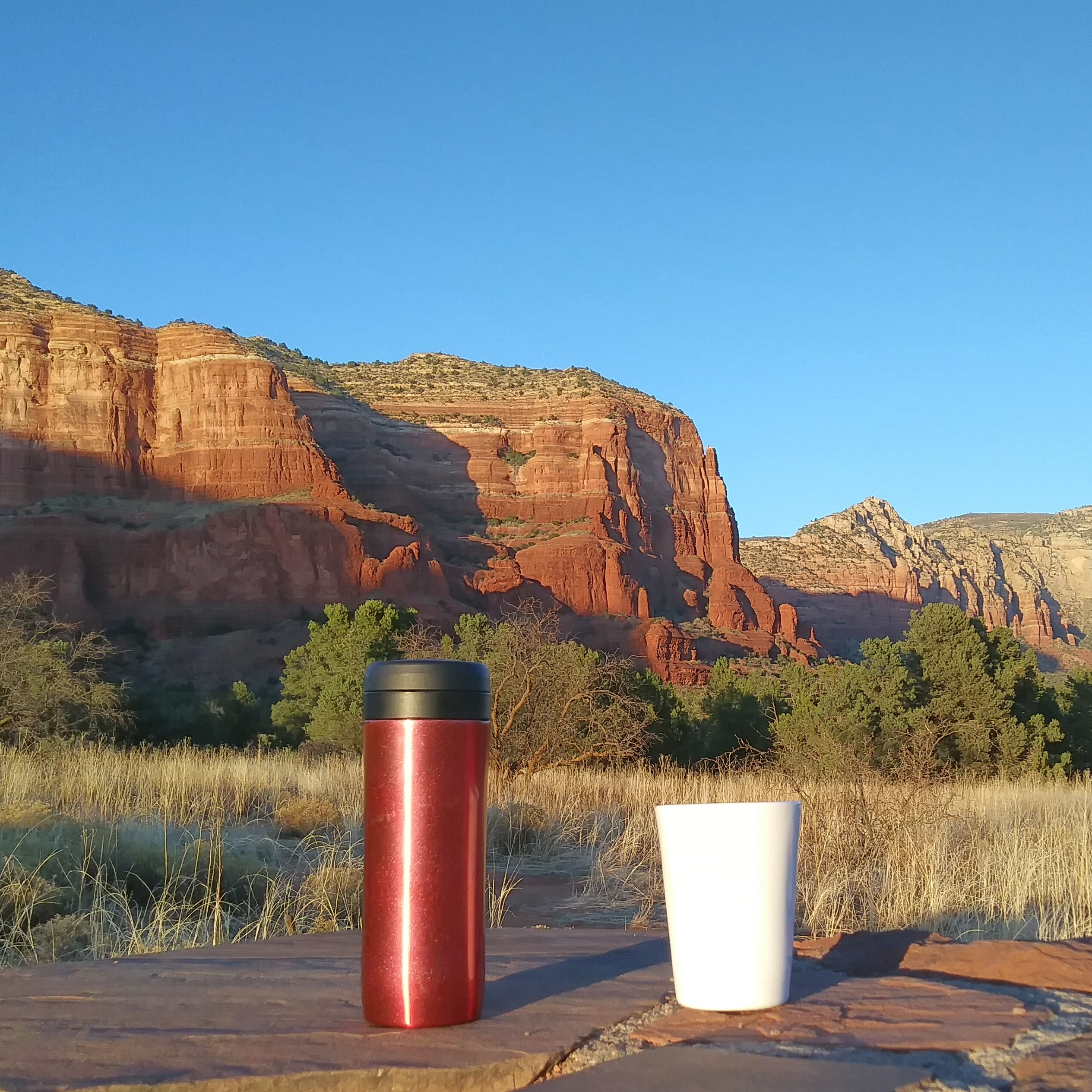 My Espro Travel Press and ThermaCup admire the scenery in Red Rock Country, south of Sedona, Arizona. From the cover of the 2019 Coffee Spot Calendar.