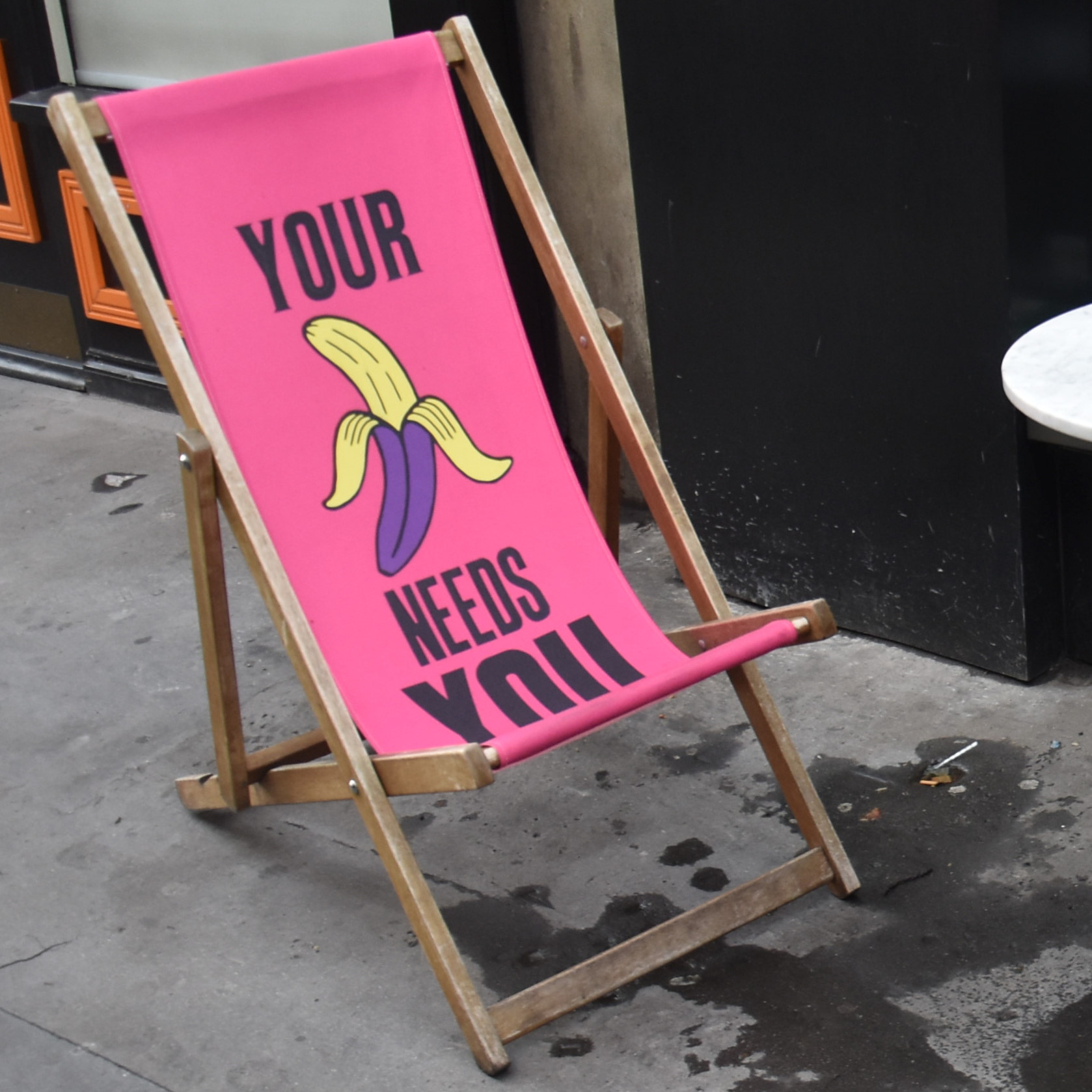 Your Banana Needs You. One of the two deckchairs outside Scarlett Green in Soho.