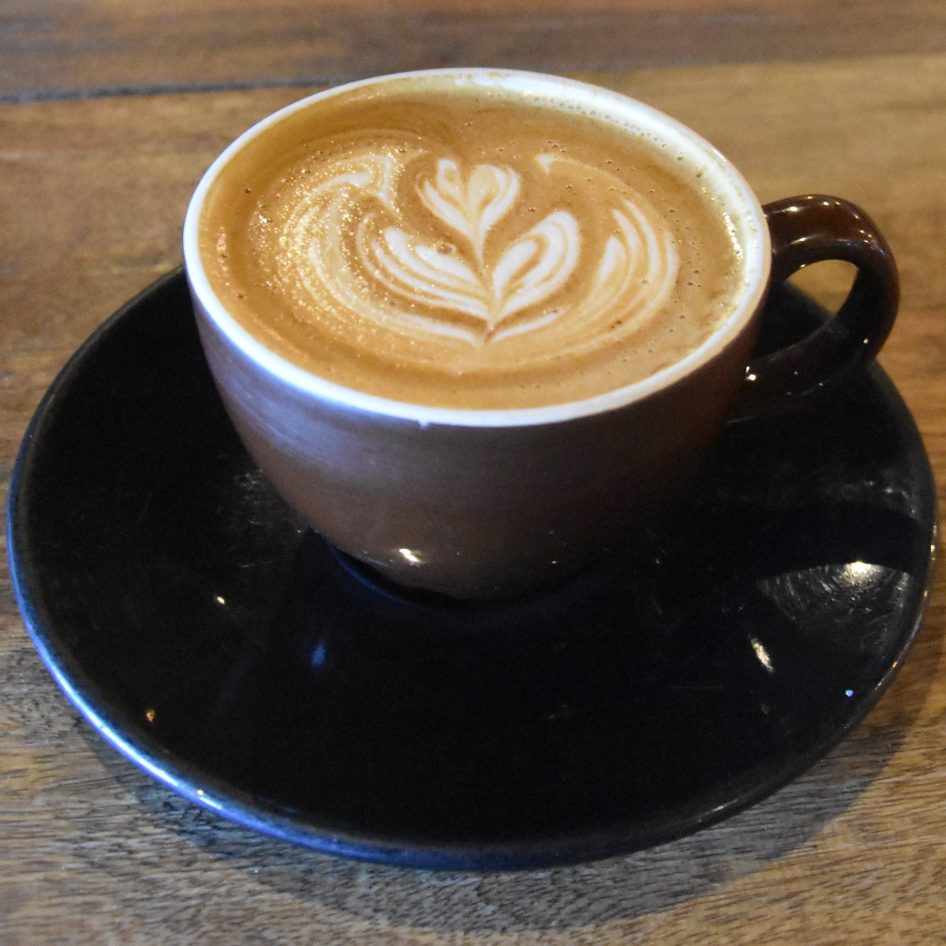 A lovely flat white, made with the guest espresso, the Runaway Blend from Yellow Brick Coffee in Tucson and served at Maverick Coffee in Phoenix.
