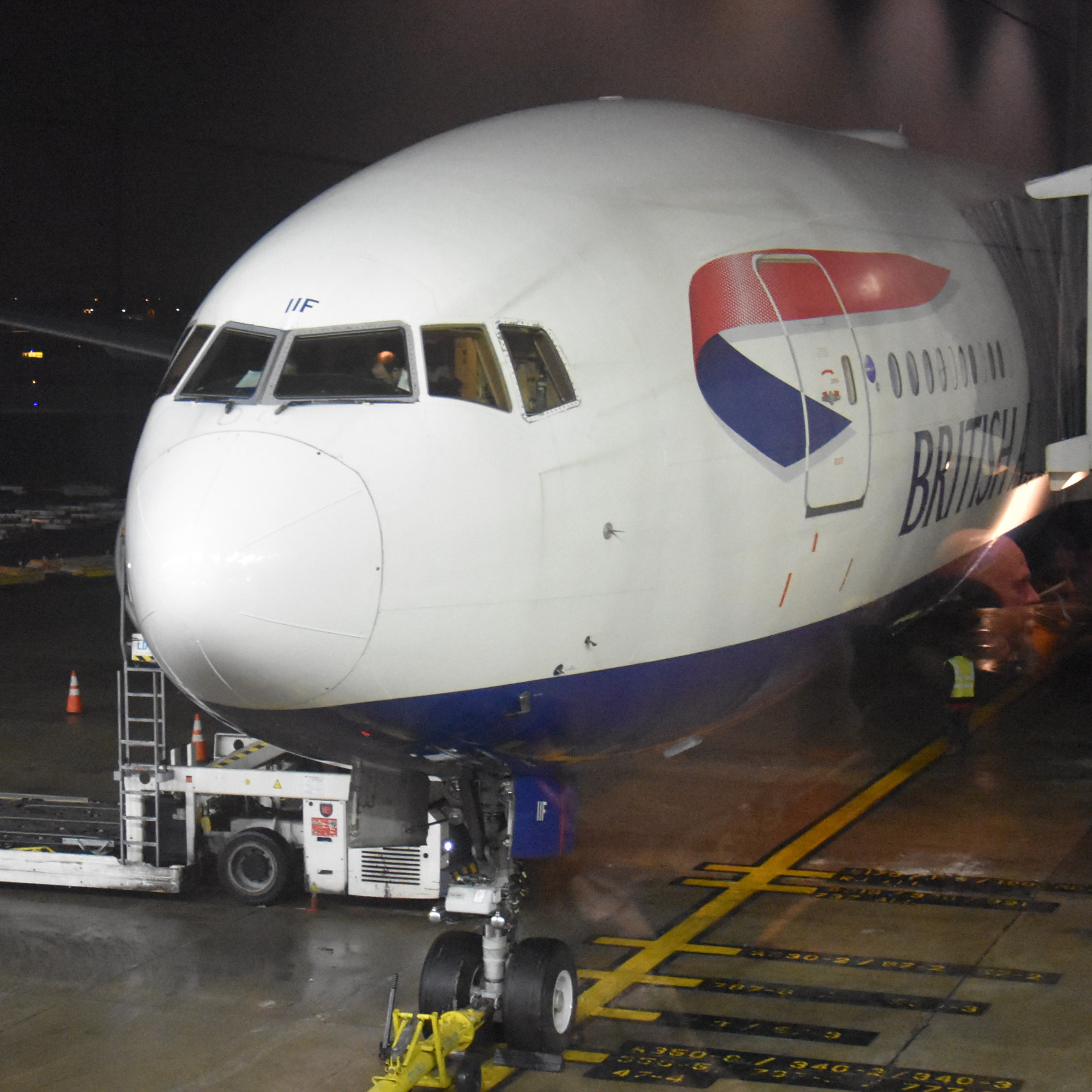 My British Airways Boeing 777-200 on the stand at Chicago O'Hare airport, waiting to take me back to the UK.
