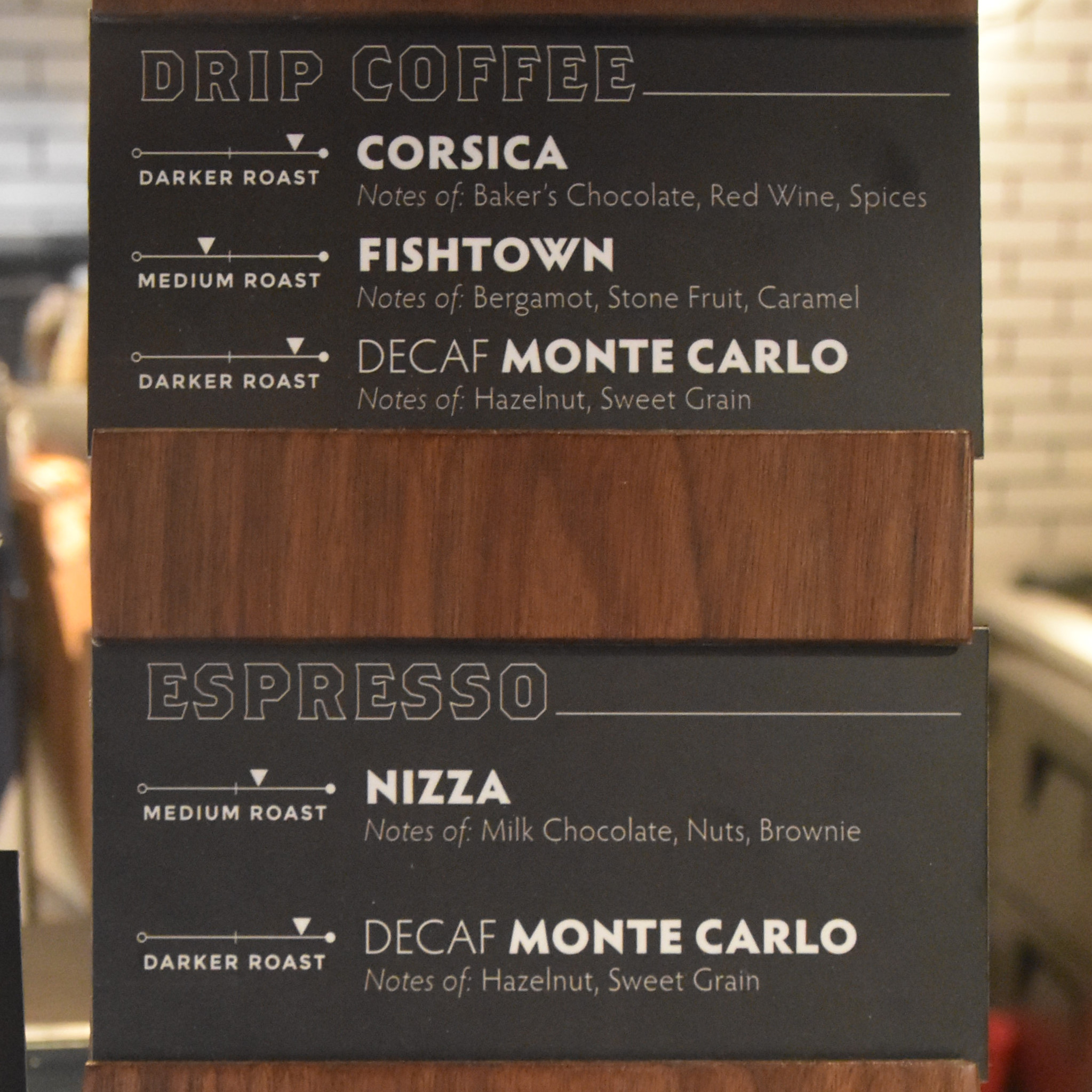 Details of the drip and espresso coffee at La Colombe, Philadelphia Airport