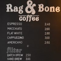 The menu board from Rag & Bone Coffee at Sharps Coffee Bar in London.