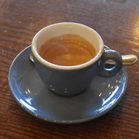 An espresso in a classic blue cup at The Steam Room in Harborne, Birmingham.