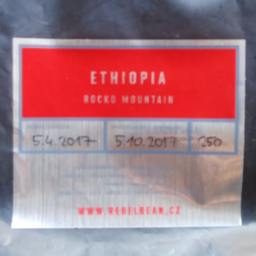 A bag of Ethiopia Rocko Mountain from Rebel Bean in the Czech Republic, which I enjoyed after keeping it in my freezer for almost two years...