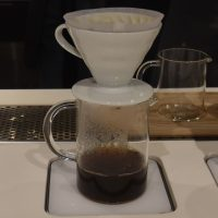 A V60 of a Costa Rican Geisha being prepared at Little Bean Coffee Museum in Shanghai.