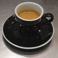 My espresso, made with the Giraffe house-blend, and served in a classic black cup at Seesaw in the IFC Mall in Shanghai.