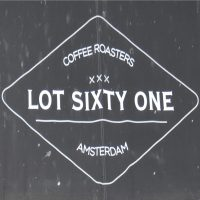 The Lot Sixty One Coffee Roasters logo from the awning outside the coffee shop on Kinkerstraat, west Amsterdam.