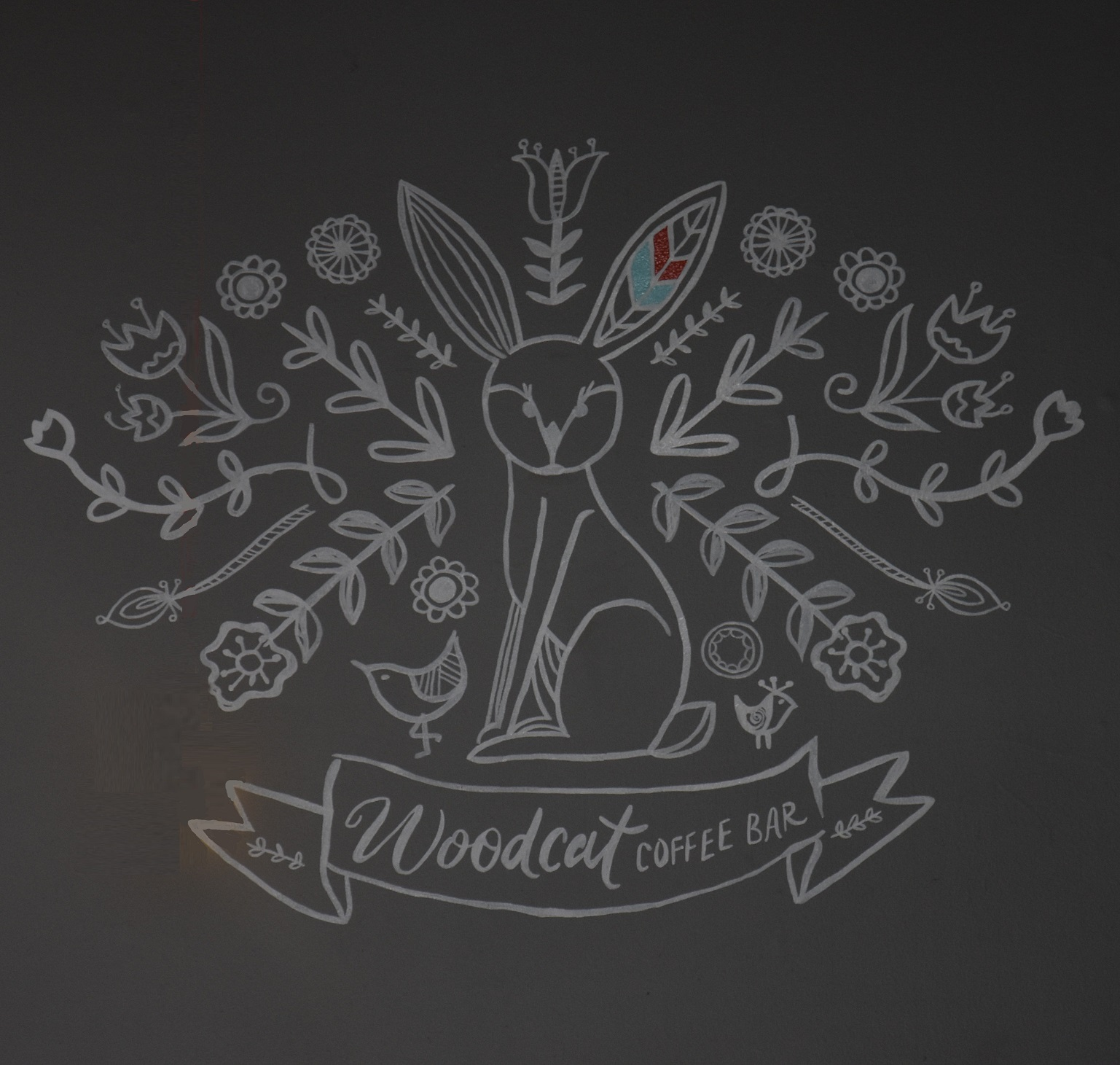 The Woodcat (it's a hare, by the way) logo from the wall behind the counter in Echo Park, Los Angeles.