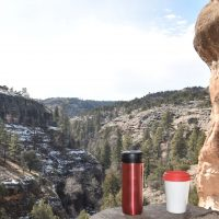 My Therma Cup and Travel Press taking in the views from the magnificent Gila Cliff Dwellings National Monument in New Mexico.