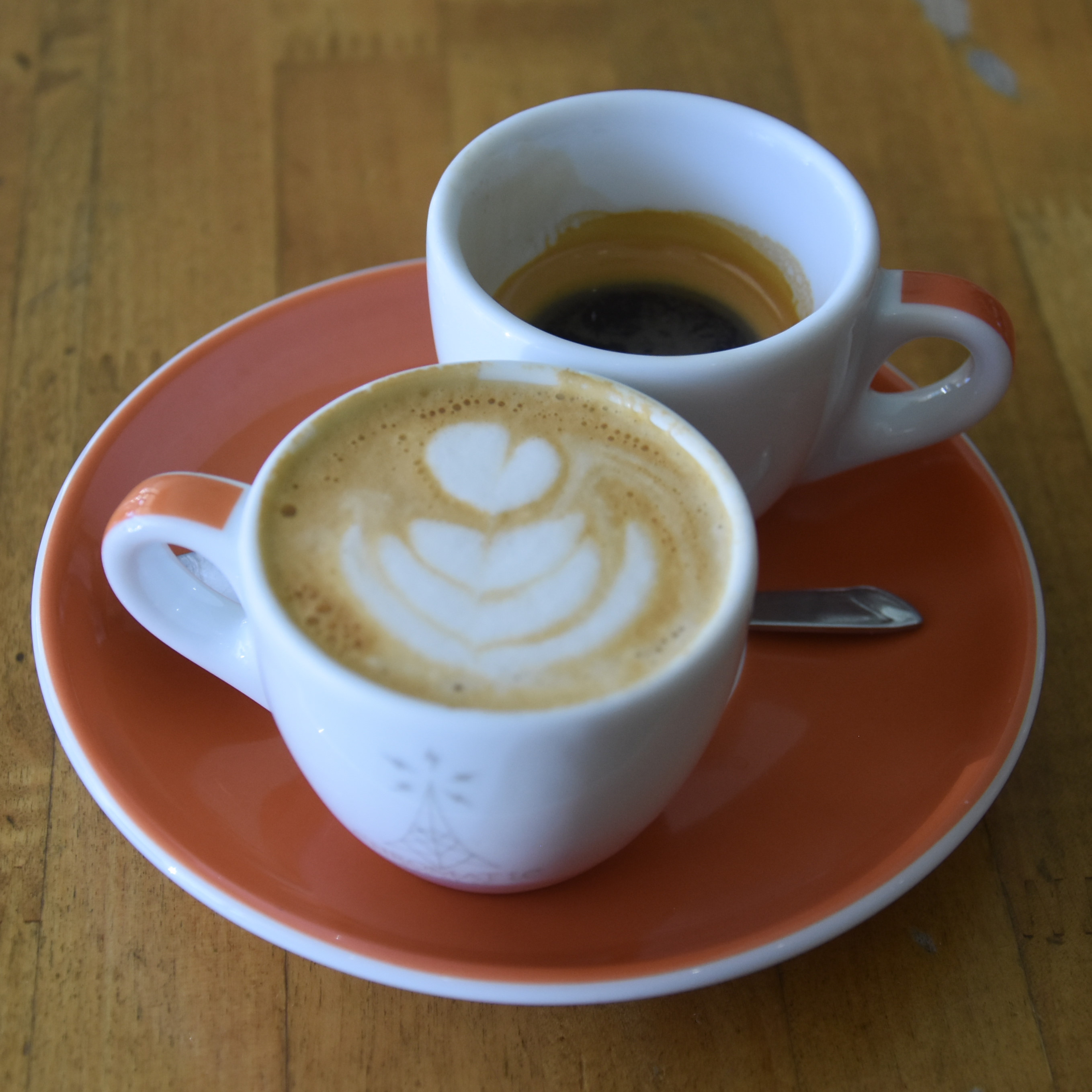 A 1&1 (espresso + macchiato) made with the Papua New Guinea single-origin at Chromatic Coffee in Santa Clara.