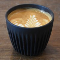 A lovely flat white in my HuskeeCup, made with the house blend espresso at Mouse Tail Coffee Stories, Whitechapel.
