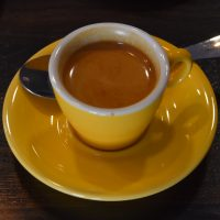 Climpson and Sons signature Estate Espresso in a lovely yellow cup at Obscure Coffee, Chester.