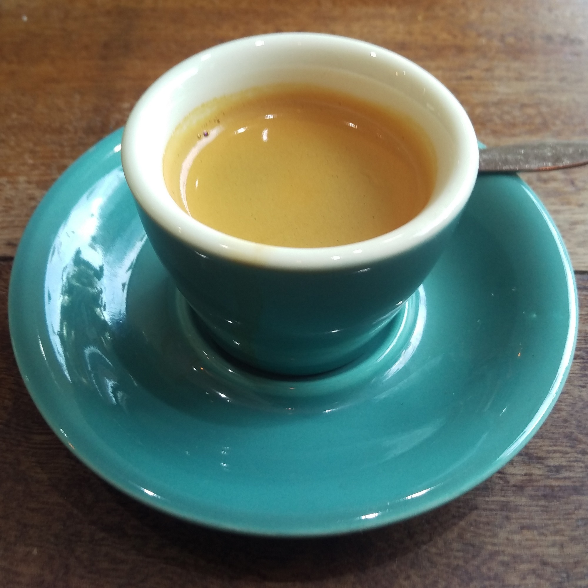 My Peruvian single-origin espresso from Cast Iron Roasters, served in a gorgeous, handleless blue cup at Second Shot in Bethnal Green.