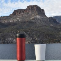 My Therma Cup and Travel Press look across Apache Lake, one of several reservoirs on the Salt River as it flows through the Superstition Mountains east of Phoenix.
