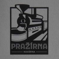 The Pražírna Kavárna logo, a black and white line drawing of a roaster. Am I the only one who thinks it looks like a steam train?