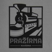 The Pražírna Kavárna logo, a black and white line drawing of a roaster. Am I the only one who thinks it looks like a steam train?