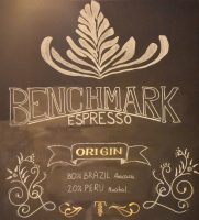 Details of Taylor Street's Benchmark Espresso Blend, taken from the chalkboard behind the counter.