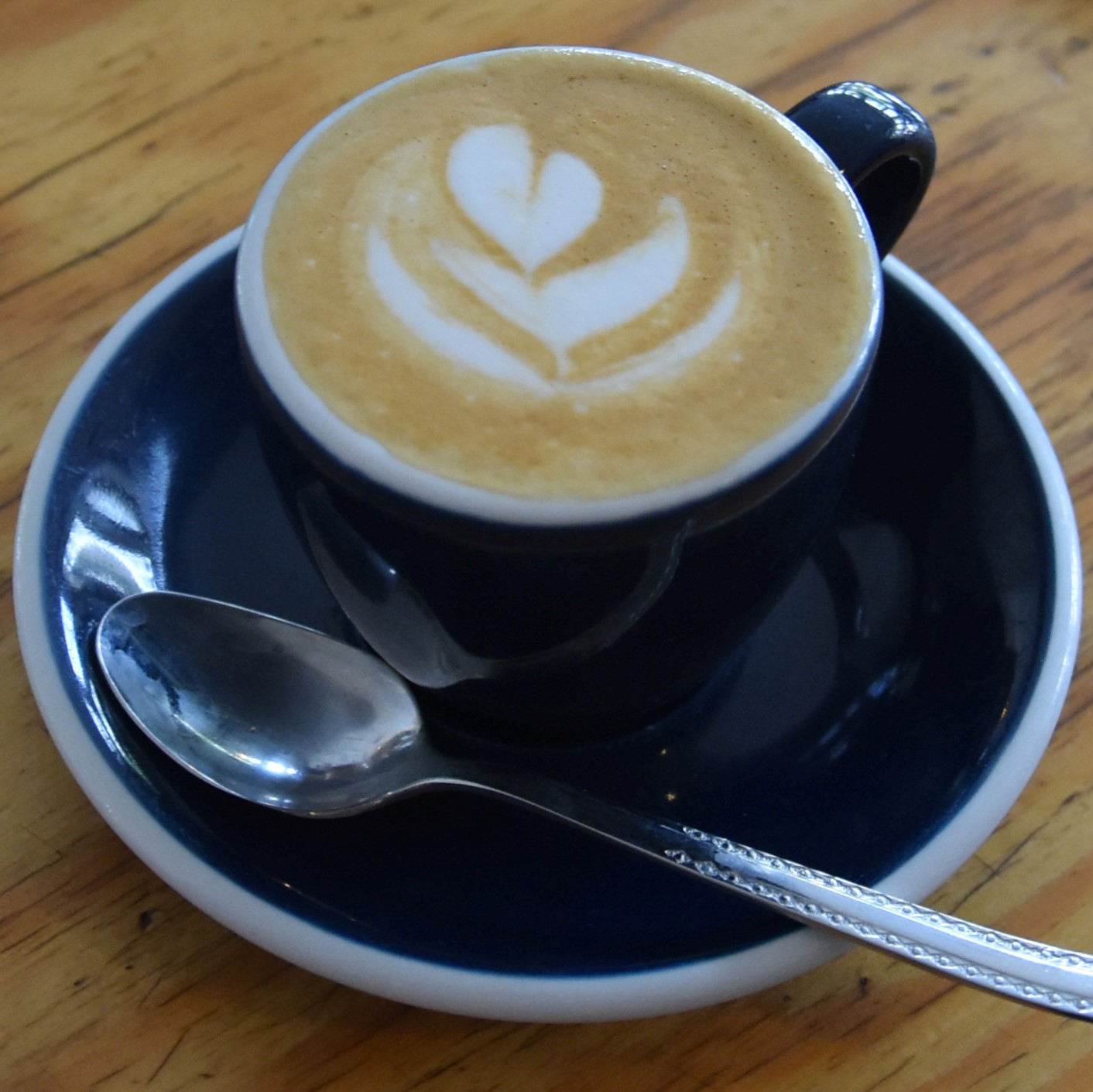 A piccolo, made with the house blend at Caffènation in Amsterdam, and served in an espresso cup.