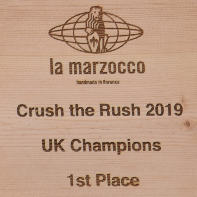 The trophy for the first ever UK Crush the Rush competition, held at Out of the Box in Tonbridge, 2019.