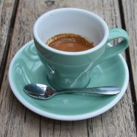 A classic espresso, made with the Monsoon Estates' seasonal blend, and served in a classic cup at the Espresso Station in Moor Street Station, Birmingham.
