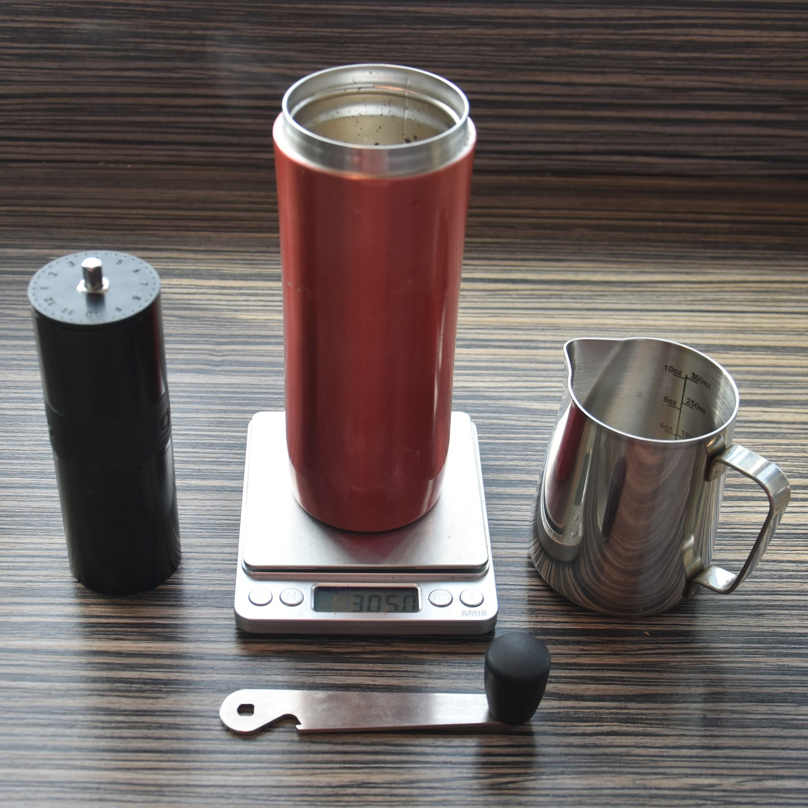 The best part of flying out of Manchester's Terminal 1? I got to make my own coffee in my Espro Travel Press, grinding the beans (Grumpy Mule's Widescreen blend) with my Aergrind from Made by Knock