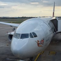 My ride to Boston from London Heathrow's Terminal 3: Miss England, a Virgin Atlantic Airbus A330-300.