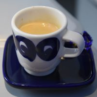 My espresso on board a Finnair Airbus A350-900 bound for Tokyo Narita airport.