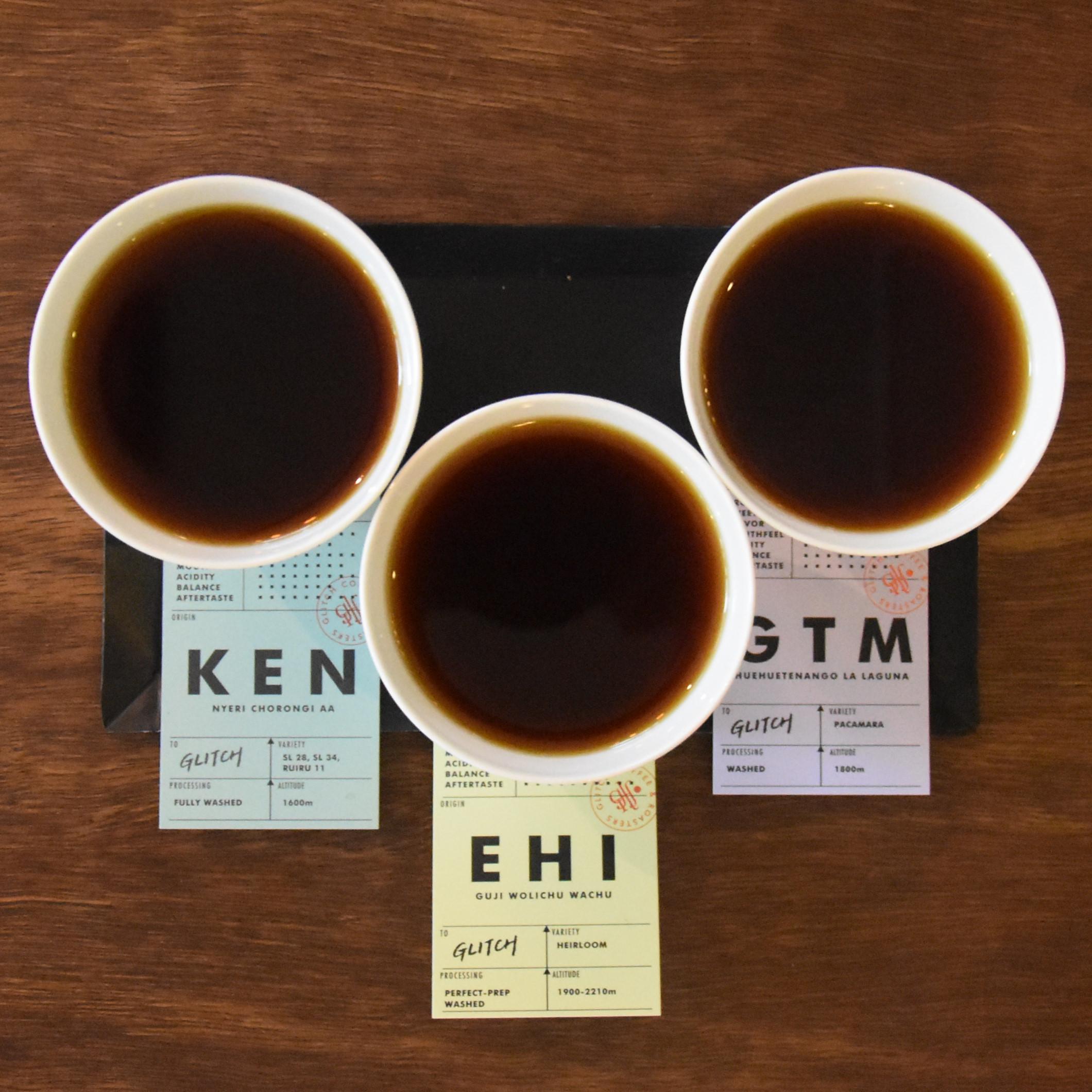A tasting flight of three single-origin filters at Glitch Coffee & Roasters in Tokyo.