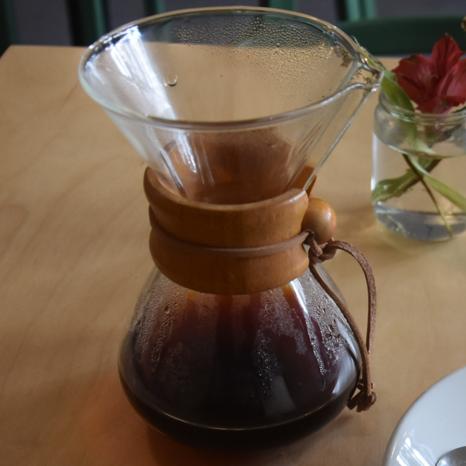 A Chemex of a Los Suspiros from Guatemala, roasted by Square Mile of London and served in Panna, Chester.