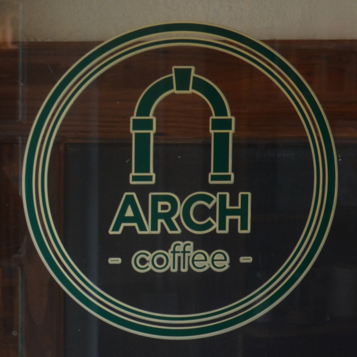 The Arch Coffee logo, taken from the door of Waterford's Arch Coffee on Peter's Street.