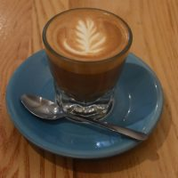 A lovely cortado, in a glass, made with the house-blend at Café Névé on Rue Rachel in Montréal.
