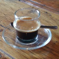 A lovely single-origin Brazilian espresso from Full Circle Roasters, served in a glass at Shoe Lane Coffee, Dublin.