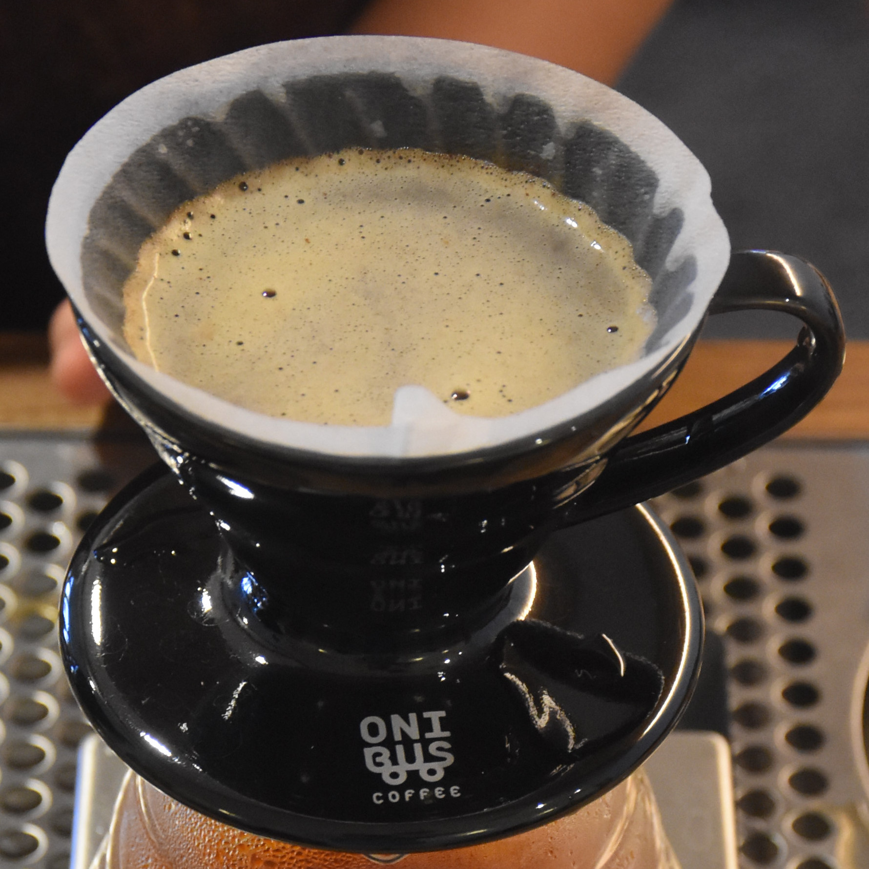 My Colombian El Paraiso, a washed coffee, being made in a V60 at the new Onibus coffee shop/roastery in Yakumo, Tokyo.