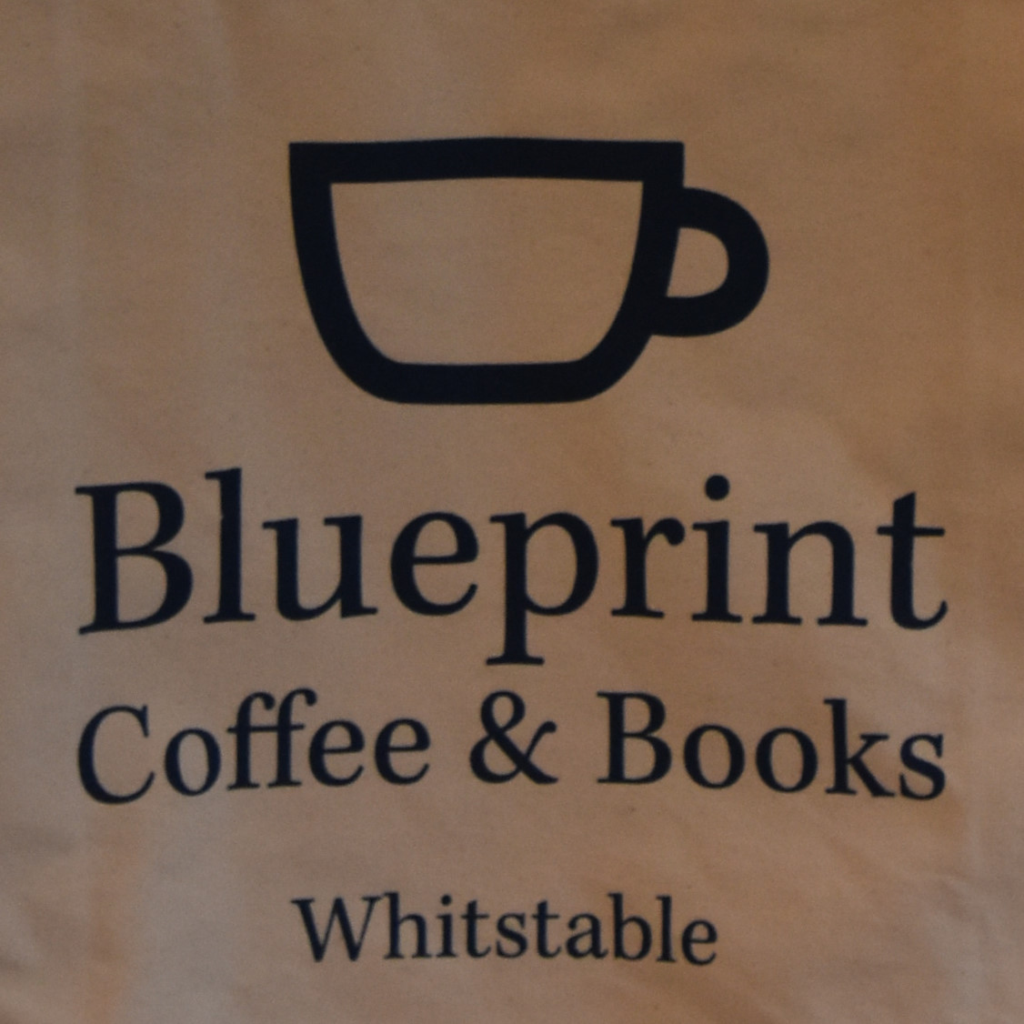 The Blueprint Coffee & Books logo taken from a tote bag in the shop in Whitstable.