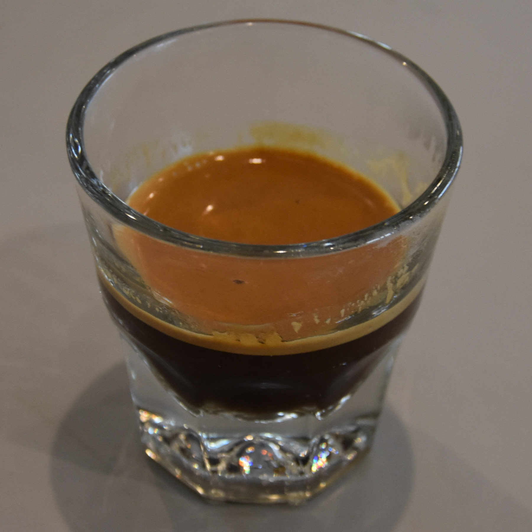 My espresso, an Ethiopian Guji from Horizon Line Coffee, served in a glass at Driftwood Coffee Co. in Peoria.
