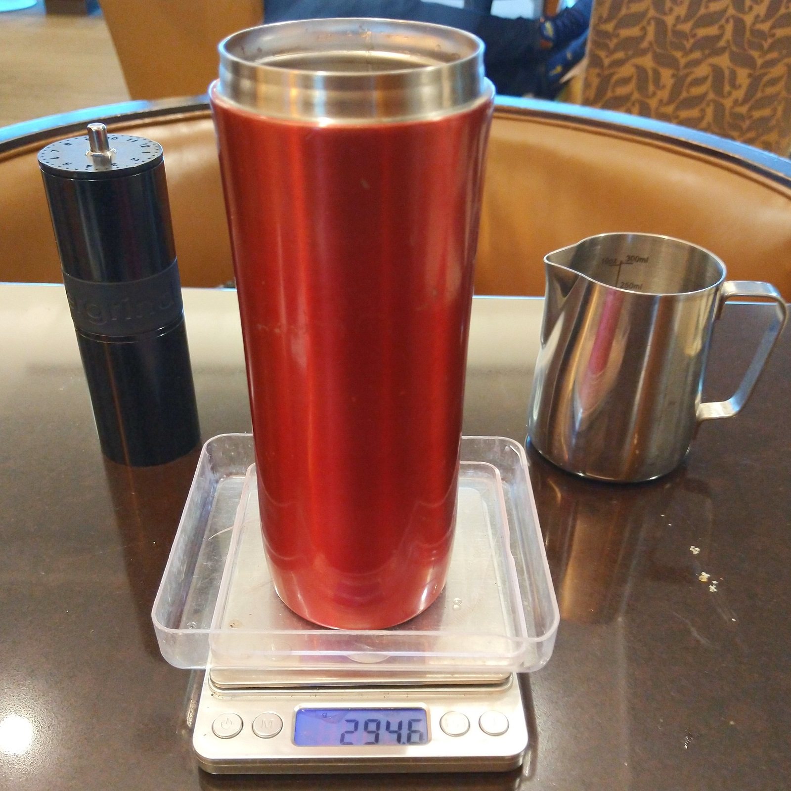 Making airline coffee bearable: make your own! My Espro Travel Press and Knock Aergrind in the American Airlines lounge at San Francisco Airport before my flight to Phoenix.