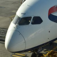 The nose of my British Airways Boeing 787-900 which flew me to San Jose.