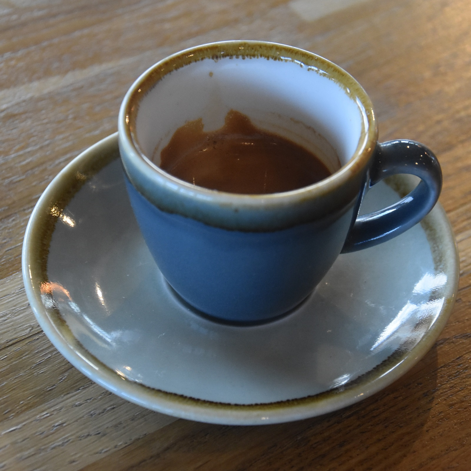 A classic espresso (Ground Coffee Society's Caveman blend) in a classic cup, served at 139 Coffee.
