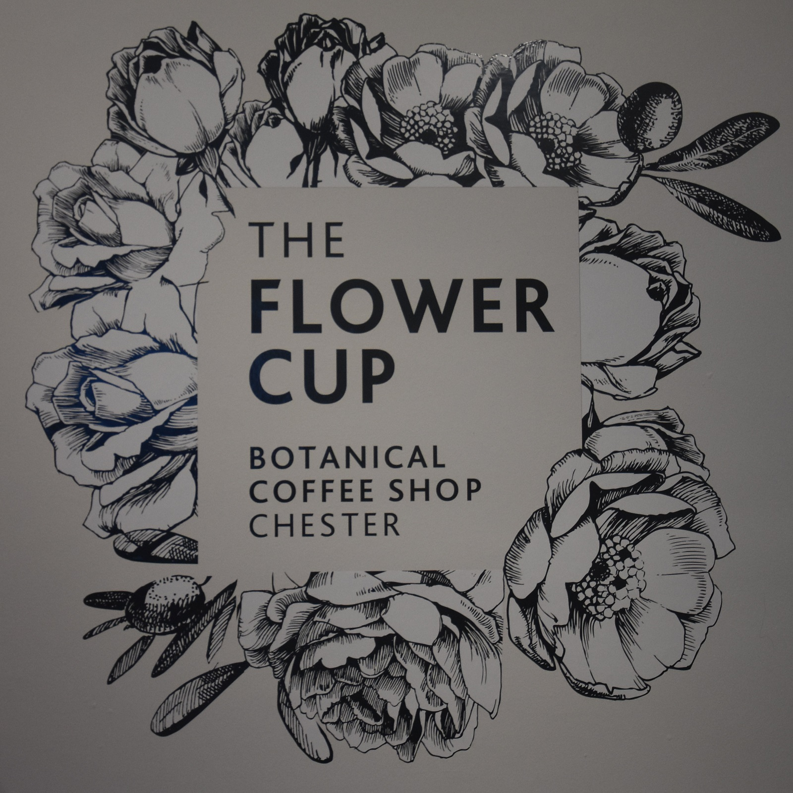 Detail from a drawing of a wreath of the wall of The Flower Cup, a Botanical Coffee Shop in Chester.