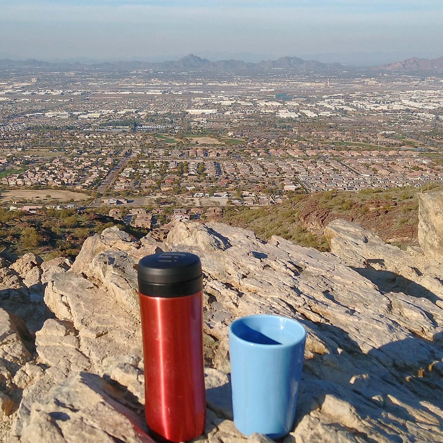My Travel Press and Therma Cup overlook Phoenix from the Ridge Line Trail along South Mountain.